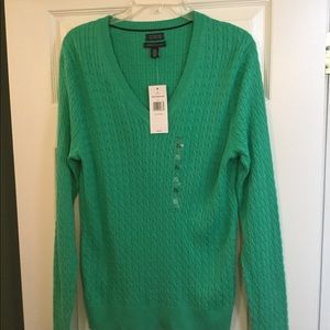 Green Tommy Hilfiger V-Neck Sweater - NWT